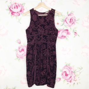 Free People Floral Crushed Velvet Bodycon Dress M